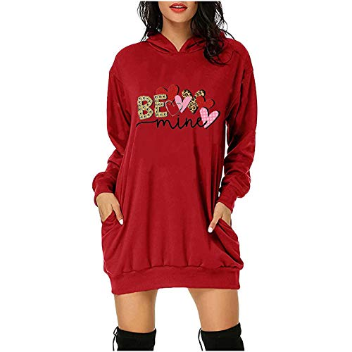 Mujer Sudadera con Capucha Larga Vestido Talla Grande Casual Flores Manga Larga Sudadera Impresión Día de San Valentín Hoodie Jersey Calida y Grosor,Regalo para Amante()