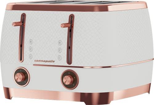 Beko Cosmopolis 4 Slot Toaster White & Rose Gold TAM8402W