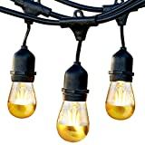 Brightech Ambience Pro - Anti Glare, Beautiful Gold Tip Outdoor String Lights – Commercial Grade Waterproof, LED Patio Lights-Hanging Backyard Tree Lights with Dimmable LED Bulbs - 48 Ft Gazebo Lights