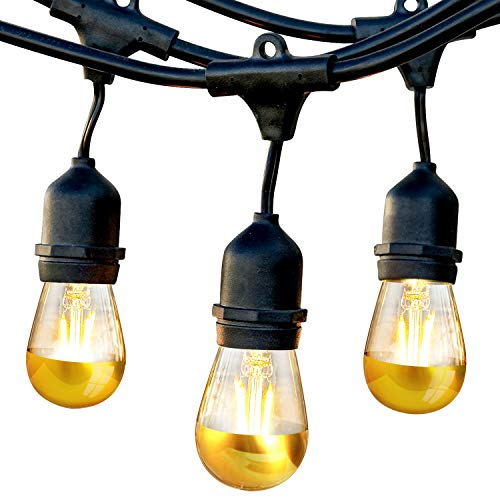 Brightech Ambience Pro Gold Tip String Lights – Waterproof LED Outdoor String Lights - Hanging Dimmable LED Bulbs with Dazzling Gold Accent - 48 Ft Commercial Grade Patio, Backyard, Gazebo Lights