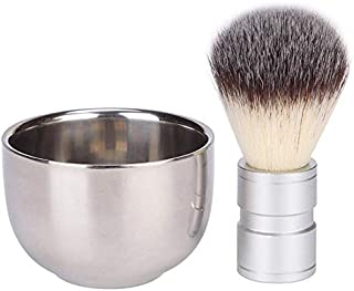 NY Elegance Stainless Steel Shaving Bowl with Luxury Shaving Brush [2 in 1 Kit]