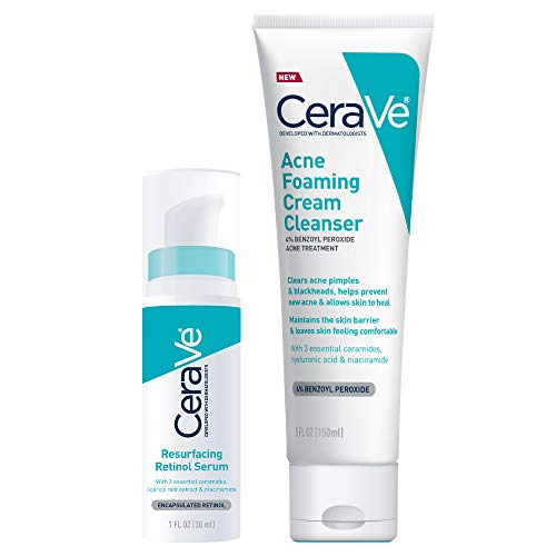 CeraVe Acne Treatment Face Wash and Retinol Serum Bundle | Contains One Acne Foaming Cream Cleanser (5 Ounce) and One Brightening Facial Serum for Post-Acne Marks and Pores (1 Ounce)