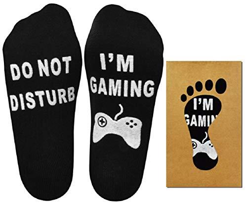 Tuopuda Lustige Socken Herren Damen Do Not Disturb I'm Gaming Baumwolle Neuheit Socken Rutschfeste Geschenk Socken Gaming Socken Fun Socken (Schwarz)