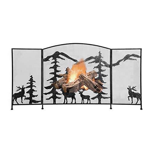 Funkenschutz Kaminschirm für Pflug & Herd mit Hirschmuster, Verzierter 3-Fach Faltbarer Feuerschutz mit Metallgitter, Baby- und Hundesicherem Zaun (Color : Black)