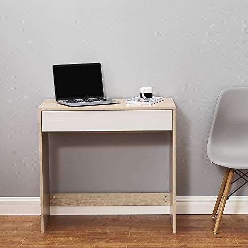 Panana Wood Office Desk Computer Workstation PC Laptop Writing Table with Two Drawers Home Office Oak and White