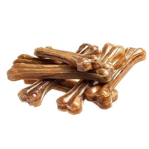 bontoy Hundekauknochen I 10 Stück x 21 cm I Naturprodukt aus Reiner Rinderhaut I proteinreich und gut für die Kaumuskulatur ihres Hundes