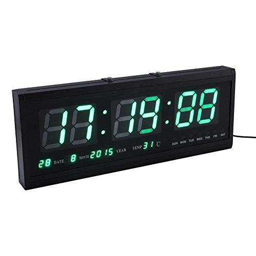 Yosoo Gran Verde Digital LED Calendario Reloj con Día y Fecha-Shelf o Reloj de Pared