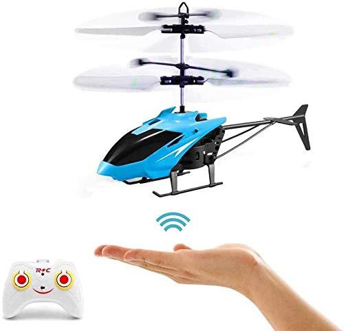 RC-Hubschrauber, Ferngesteuerter Hubschrauber mit Gyro- und LED-Licht, Mini-Fernhubschrauber für Kinder, Indoor-Flugspielzeug (Dunkelblau)