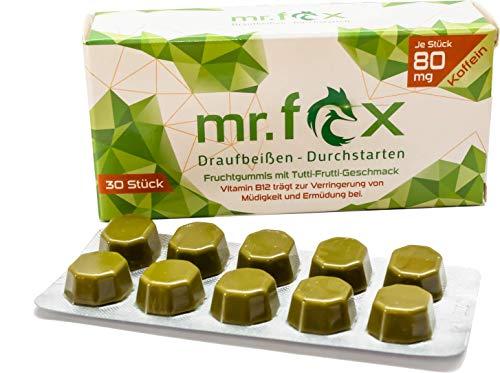Mr. Fox Koffein Fruchtgummi - Matcha Tee, Taurin und Vitamin B12, zuckerfrei – Koffein zur Steigerung der Konzentration