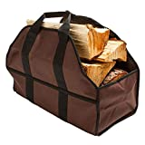 HERUNNA - Borsa porta legna, resistente, extra large, per camino, stufa a legna, accessori, con manici, per campeggio, marrone