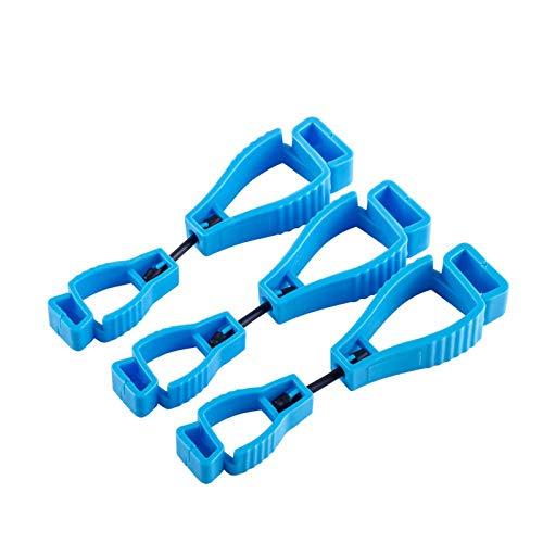 3 Stück handschuh Clip,Für mit Karabiner Haken Und Feuerwehr Handschuh Grabber Arbeits handschuh Halter-Klammer (Blau)