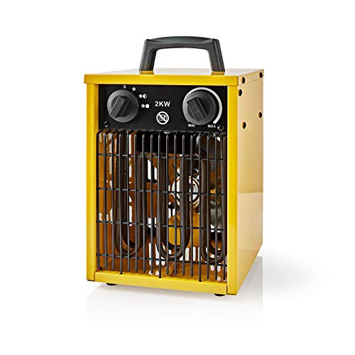 Ex-Pro 2KW Portable Industrial Electric Fan Heater with Carry Handle, Thermostat and 3 Settings, Warm or Cool Air, for Workshop Garage Shed, 2000W - Yellow