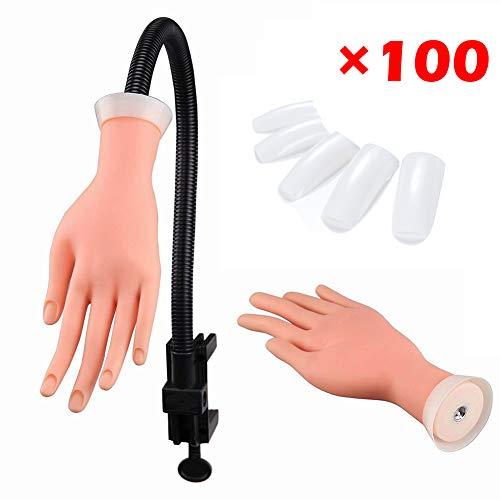 Pratique de la formation des ongles Nail Art Trainer, modèle de formation ajustable à la main + 100 embouts
