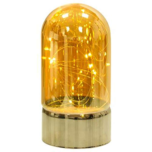 Paris Prix Atmosphera Créateur d'intérieur - Lampe Dome à Poser en Verre Guirlande 20cm Ambre