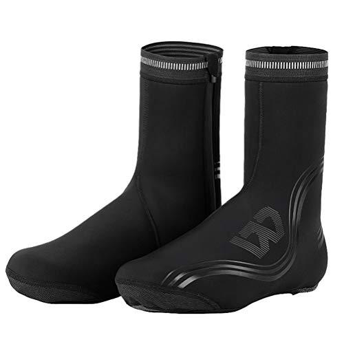 LBCD Cubiertas para zapatos de ciclismo impermeables para invierno, térmicas, cálidas, para hombres y mujeres, botas para bicicleta de montaña al aire libre MTB Racing, L