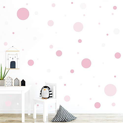 malango® 78 Wandsticker Punkte Kinderzimmer Wandtattoo Kreise Set Wanddekoration Wanddeko Mädchen Jungen Kids Klebepunkte bunt selbstklebend rosa-beige