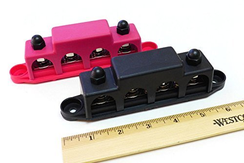 """Bay Marine Supply Busbar – 4-Post 3/8"""" Power Distribution Block (250A Rating) – Pair of Red & Black Bus Bar (with Complimentary Electrical Grease)"""