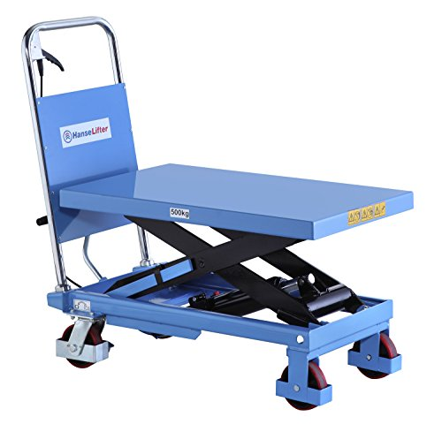 HanseLifter SPA500 mobiler Hubtisch mit 500kg Tragfähigkeit und 900mm Hubhöhe, Lichtblau
