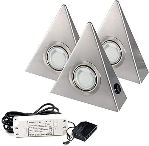 Lot de 3 lED en acier inoxydable rolux lED blanc chaud avec interrupteur central de jAC beleuchtung24 ®