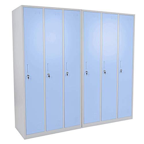 Schließfach Boston T829, Spind Wertfachschrank Schließfachschrank, Metall 6 Fächer ~ blau