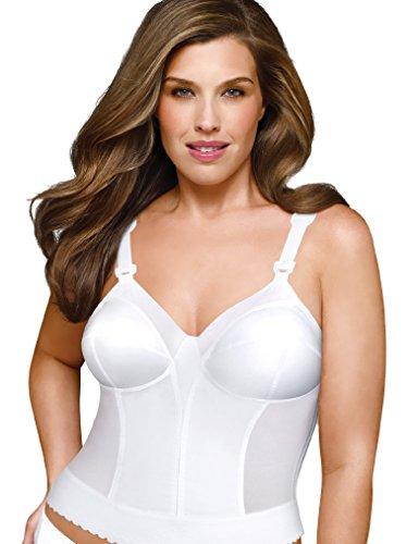 Exquisite Form Women's Intimate Apparel Plus Size Back Close Longline Bra, White, 40B