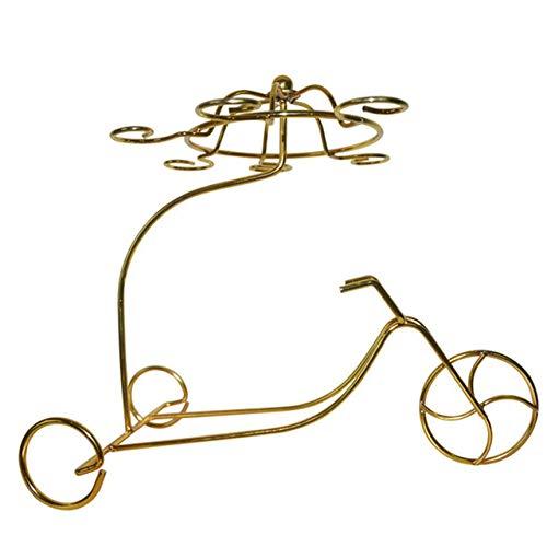 DSHRTY Weinregal Kreative Metallwagen Weinregal Metall hängende Tasse Wein Becherhalter Heimtextilien Ornamente Rotweinflasche Glashalter, Golden