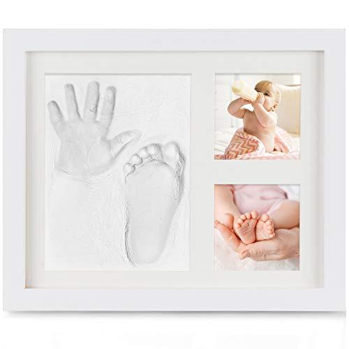 Baby Handabdruck und Fußabdruck, Orlegol Baby Holz Bilderrahmen mit Gipsabdruck, Hand und Fuß Gipsabdruck Set, Baby Fotorahmen Set, Baby Fussabdruck, perfekt für Familie Baby Shower Andenken Geschenk