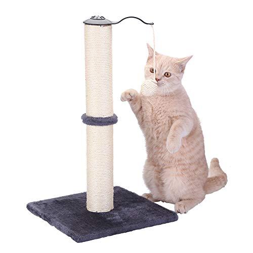 HAPPY HACHI Tiragraffi per Gatti in Sisal, Albero Tiragraffi con Pallone Rotante Imballaggio Completo Verticale Giocattolo Torre per Gatto con Base Stabile Semplice Montaggio Grigio