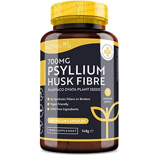 Psyllium Husks Fibre Supplement – 1400mg per Serving – Naturally High in Soluble Fibre – 180 Vegan Capsules – Supports Daily Rhythm – 100% Pure Plantago Ovata Plant Seeds – Made in The UK by Nutravita