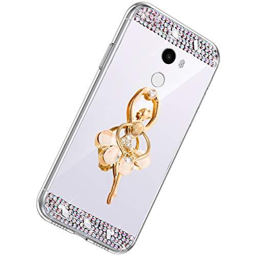 Herbests Kompatibel mit Xiaomi Mi Mix 2 Handyhülle Glitzer Diamant Glänzend Spiegel Handytasche Durchsichtig Kristall Bling Schutzhülle Case mit 360 Grad Ring Ständer Halter,Silber