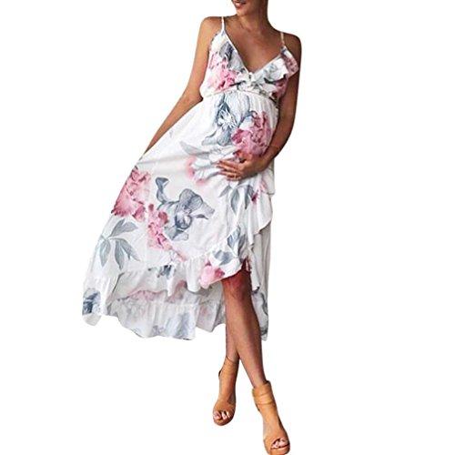 DAY8 Robe Femme Enceinte Sexy Grande Taille été Mini Jupe Robe Femme Enceinte Photographie Mariage Soirée Courte Robe Maternité Grossesse Bustier Fleurs Femme Vetements Chic Pas Cher (XL, Blanc)