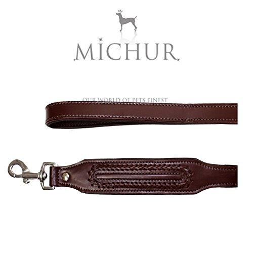 MICHUR Maria Braun LEINE hondenriem leer, platte riem, lederen riem hond, AANPASSING VAN DE HALSBAND Maria Braun, breed, LEDEREN maat (ca.) 120x2,5cm