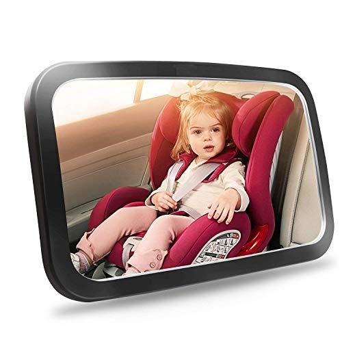 Espejo Retrovisor para vigilar al Bebé en el Coche, BOYISEN Espejo de Bebé para Asiento trasero de Coche Doble Correa con Paño de Limpieza gratuito