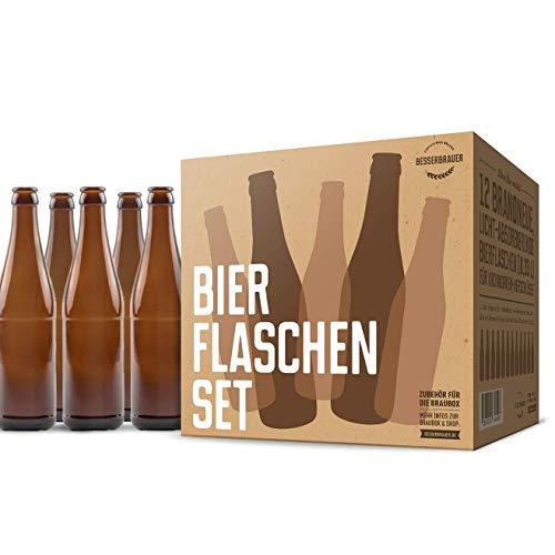 Bierflaschen-Set: 12 x 330 ml Glasflaschen, braun mit UV-Schutz ● Qualität von Besserbrauer