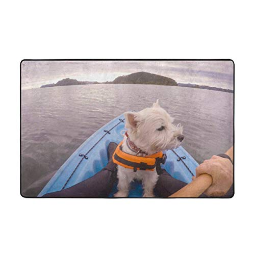 Alfombra de baño Alfombra, White Terrier Westie Perro Aventura Deportes Recreación Chaqueta de la bahía Alfombra de baño 50x80cm
