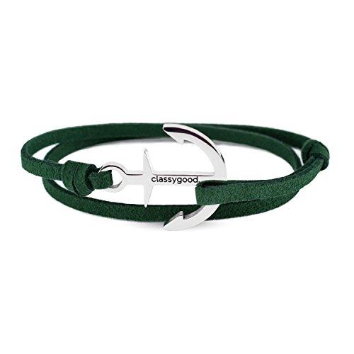 classygood. Anker Armband Classy Bracelet schwarz & Silber, Alcantara-Leder Band grün für Damen/Herren (Silber)