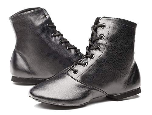 Joocare Child Black Leather Split Sole Jazz Dance Boots Shoes (3.5 Big Kid, Black)