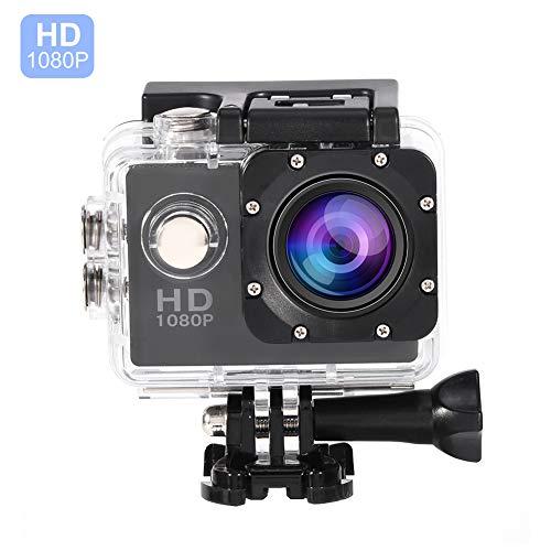 Vbestlife Videocámara Deportiva a Prueba de Agua, 1080P Ultra HD 32GB Action Camera al Aire Libre de Baterías Recargables con Soporte para Buceo, Nadar, Ciclismo, etc. (Negro)