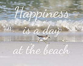 """Beach Quote Art, Coastal Wall Art -""""Happiness is a Day at the Beach"""" - Sandpiper and Ocean waves"""