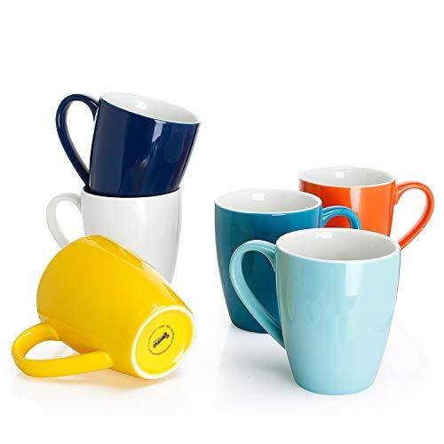 Sweese 601.002 Kaffeebecher Kaffeetassen 6er Set aus Porzellan, Tasse mit großem Henkel für Heißgetränke, Bunte Serie, 400 ml