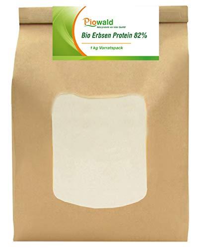 BIO Erbsenprotein 82% - Isolat - 1 kg Pulver Vorratspack, Pflanzliches Eiweißpulver, Vegane Proteinquelle
