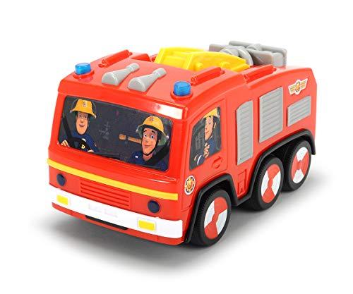Dickie Toys 203092000 Feuerwehrmann Sam Non Fall Jupiter, batteriebetriebenes Feuerwehrauto mit Runterfall-Stopp, fällt nicht vom Tisch, mit Toplicht, 14 cm