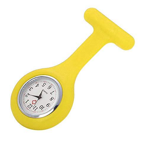 Skxinn Uhren Krankenschwesteruhr Damenuhr Uhr Pflegeruhr Ansteckuhr Silikon Hülle Schwesternuhr Brosche Taschenuhr Analoge Quarzuhr Ausverkauf(Gelb,One Size)