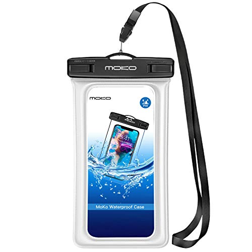 MoKo Bolsas Estancas Flotante Funda Universal con Correa para Cuello para iPhone 12,12 Mini,12 Pro, iPhone X XS XR XS MAX, Samsung S10 e, Huawei P30, BLU, Samsung S21,Pixel 4, Pixel 4 XL - Blanco