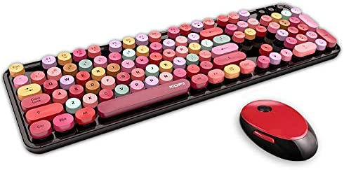 Wireless Keyboard and Mouse Combo Ergonomic Full-Sized 104-Key Cute Round Keycaps Keyboard, 2.4GHz Dropout-Free Connection Design Compatible with PC, Computer, Laptop for Most Systems (Red Colorful)