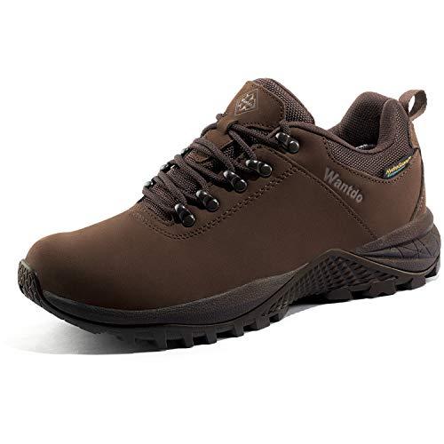 Wantdo Damskie buty turystyczne wodoodporne półbuty turystyczne outdoorowe trekking, jogging z plecakiem wspinaczka górska hydroguard, Brązowy,