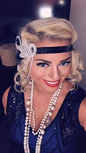 DRESHOW 1920s Accessories Headband Necklace Gloves Cigarette Holder Flapper Costume Accessories Set for Women