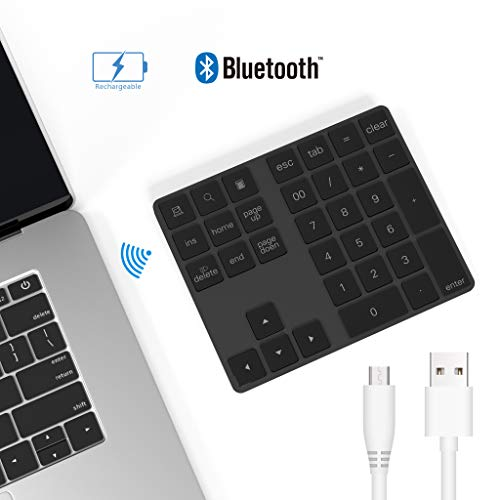 Ziffernblock Bluetooth, Bawanfa 34-Tasten Nummernblock Bluetooth Wireless Numpad mit Multi-Funktion für Computer Laptop Tablet Smartphone iPad Kompatibel mit Macbook Windows Surface Pro(Black)