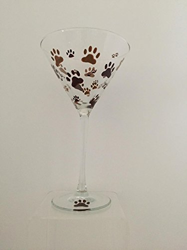 Hand Painted Martini Glass Animal Paw Prints 8 oz