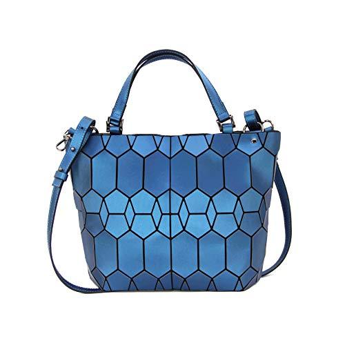 Hot One Handtasche Damen Geometrische Reflektierende Umhängetasche Geldbeutel Damen Taschen Set Rucksack (9# Blau Handtasche)